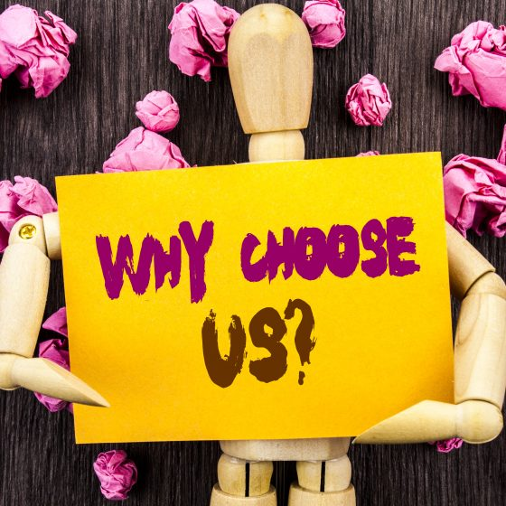 Word, writing, text Why Choose Us Question. Conceptual photo Reason Of Choice Customer Satisfaction Advantage written Sticky Note Holding By Sculpture the wooden background.