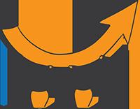deux bonhomme orange tenant une flèche courbée allant vers le haut