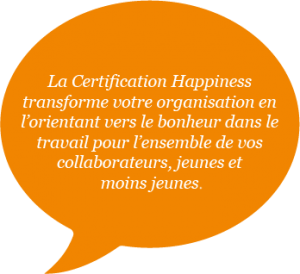 bulle de texte sur la certification Happiness